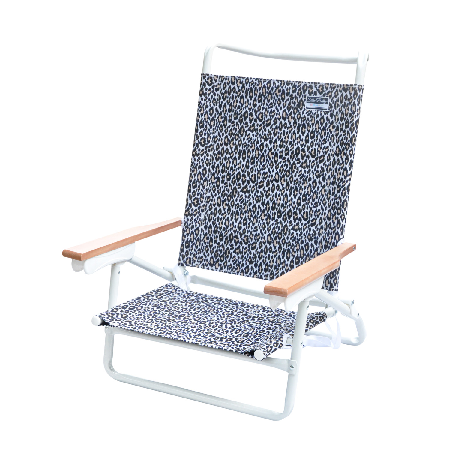 Attirant Stylish 5  Position Lay Flat White Powder Coated Aluminum Frame Beach Chair
