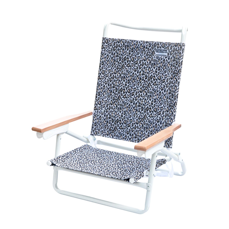 Stylish 5 Position Lay Flat White Powder Coated Aluminum Frame Beach Chair