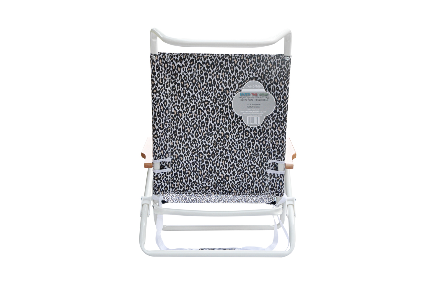 Stylish 5 Position Lay Flat White Powder Coated Aluminum Frame Beach Chair